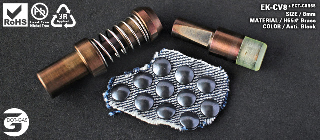 Attaching machine die sets for denim tack buttons, jeans rivets