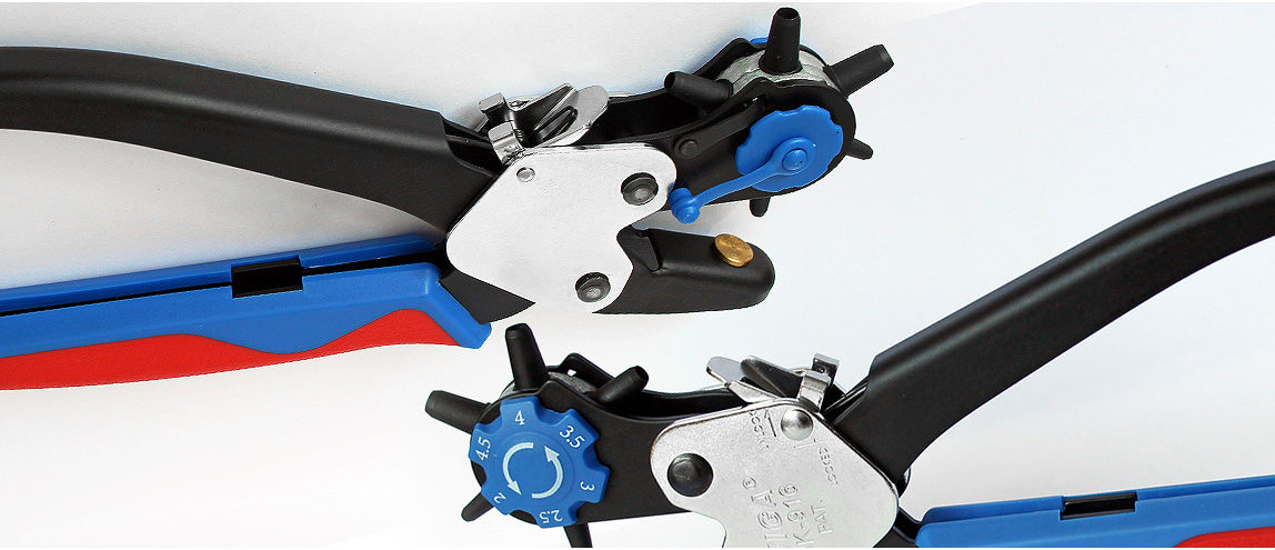 Revolving Hole Punch Pliers Tool Powder Coated Reliable Protection Locking Lever
